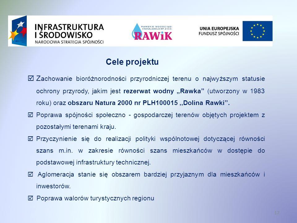 17 Cele projektu Z achowanie bioróżnorodności przyrodniczej terenu o najwyższym statusie ochrony przyrody, jakim jest rezerwat wodny Rawka (utworzony w 1983 roku) oraz obszaru Natura 2000 nr PLH100015,,Dolina Rawki.