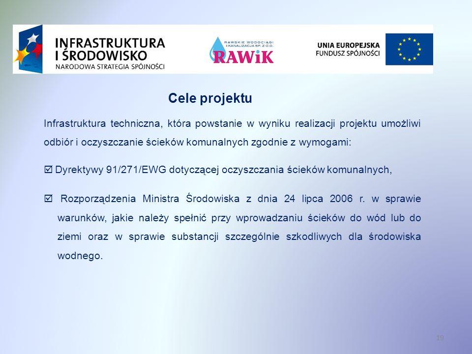 19 Cele projektu Infrastruktura techniczna, która powstanie w wyniku realizacji projektu umożliwi odbiór i oczyszczanie ścieków komunalnych zgodnie z wymogami: Dyrektywy 91/271/EWG dotyczącej oczyszczania ścieków komunalnych, Rozporządzenia Ministra Środowiska z dnia 24 lipca 2006 r.