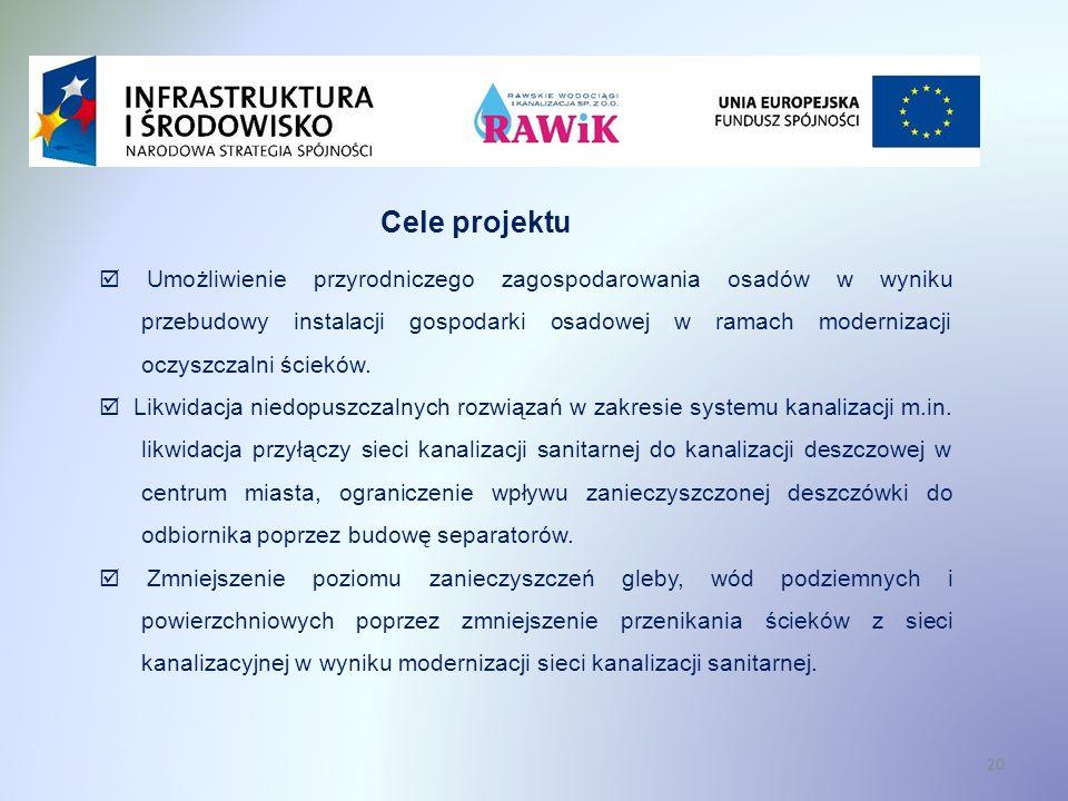 20 Cele projektu Umożliwienie przyrodniczego zagospodarowania osadów w wyniku przebudowy instalacji gospodarki osadowej w ramach modernizacji oczyszczalni ścieków.