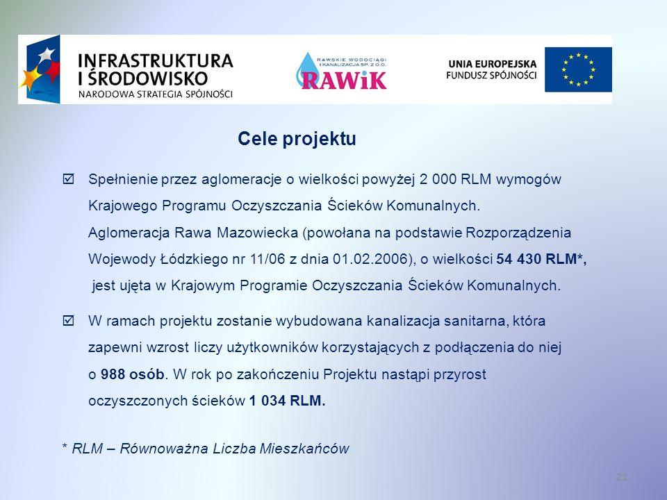 21 Cele projektu Spełnienie przez aglomeracje o wielkości powyżej 2 000 RLM wymogów Krajowego Programu Oczyszczania Ścieków Komunalnych.