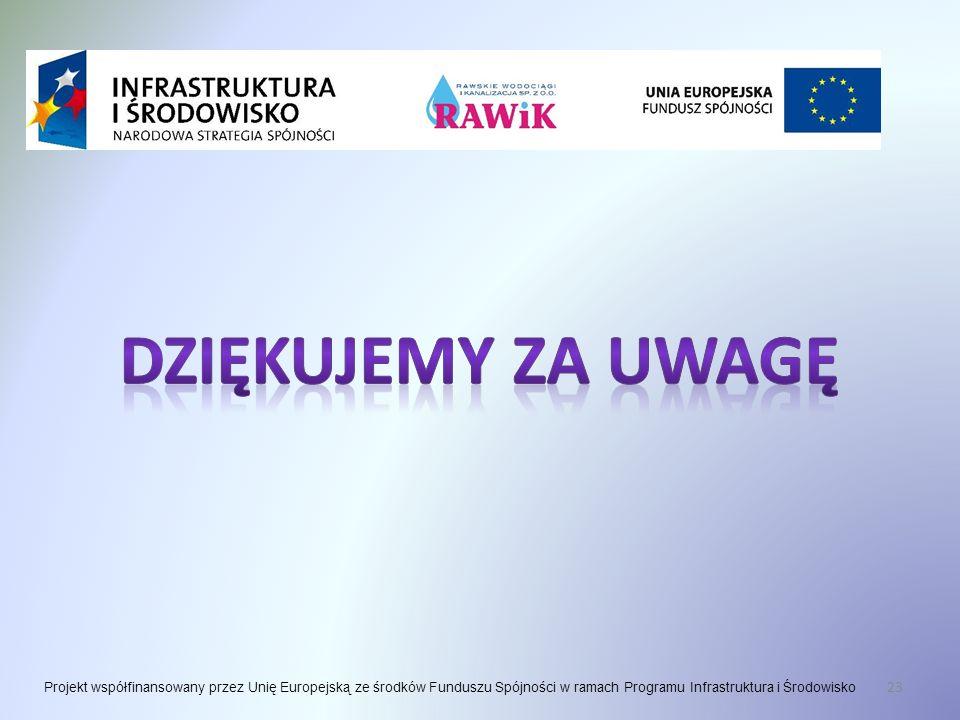 23 Projekt współfinansowany przez Unię Europejską ze środków Funduszu Spójności w ramach Programu Infrastruktura i Środowisko