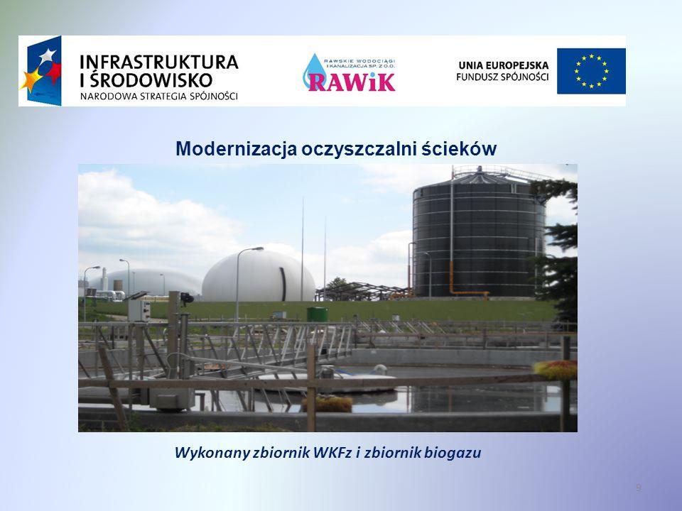 Modernizacja oczyszczalni ścieków Wykonany zbiornik WKFz i zbiornik biogazu 9