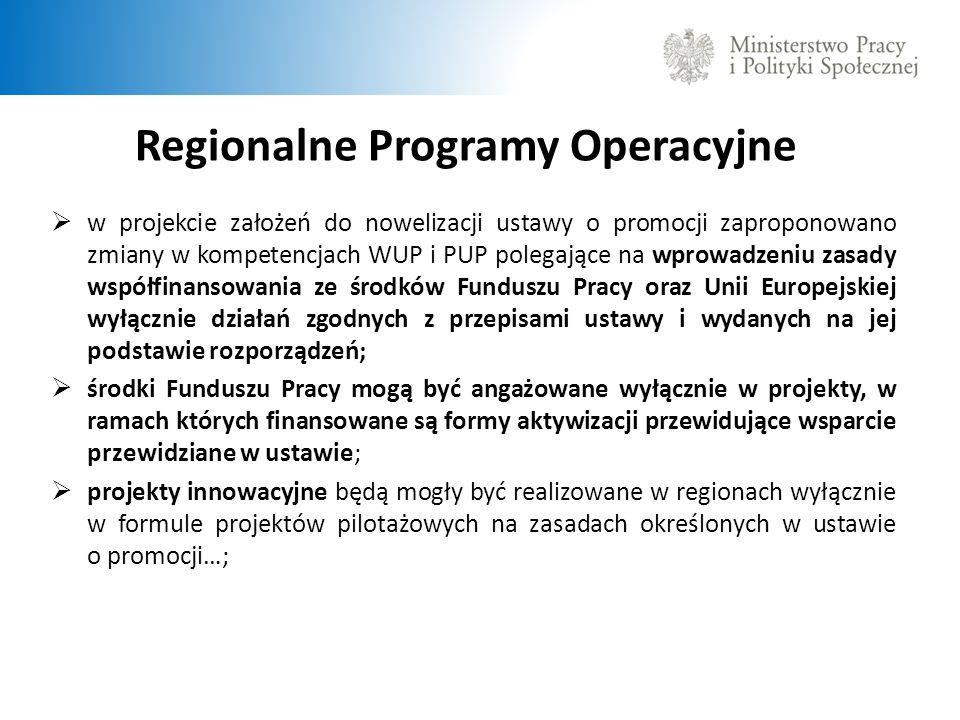 Regionalne Programy Operacyjne w projekcie założeń do nowelizacji ustawy o promocji zaproponowano zmiany w kompetencjach WUP i PUP polegające na wprowadzeniu zasady współfinansowania ze środków Funduszu Pracy oraz Unii Europejskiej wyłącznie działań zgodnych z przepisami ustawy i wydanych na jej podstawie rozporządzeń; środki Funduszu Pracy mogą być angażowane wyłącznie w projekty, w ramach których finansowane są formy aktywizacji przewidujące wsparcie przewidziane w ustawie; projekty innowacyjne będą mogły być realizowane w regionach wyłącznie w formule projektów pilotażowych na zasadach określonych w ustawie o promocji…;