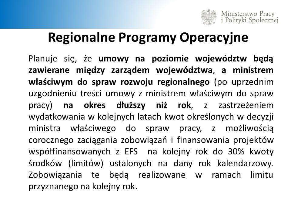 Regionalne Programy Operacyjne Planuje się, że umowy na poziomie województw będą zawierane między zarządem województwa, a ministrem właściwym do spraw rozwoju regionalnego (po uprzednim uzgodnieniu treści umowy z ministrem właściwym do spraw pracy) na okres dłuższy niż rok, z zastrzeżeniem wydatkowania w kolejnych latach kwot określonych w decyzji ministra właściwego do spraw pracy, z możliwością corocznego zaciągania zobowiązań i finansowania projektów współfinansowanych z EFS na kolejny rok do 30% kwoty środków (limitów) ustalonych na dany rok kalendarzowy.