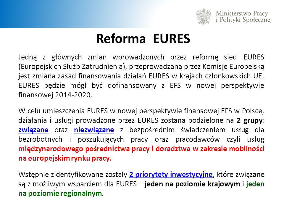 Reforma EURES Jedną z głównych zmian wprowadzonych przez reformę sieci EURES (Europejskich Służb Zatrudnienia), przeprowadzaną przez Komisję Europejską jest zmiana zasad finansowania działań EURES w krajach członkowskich UE.