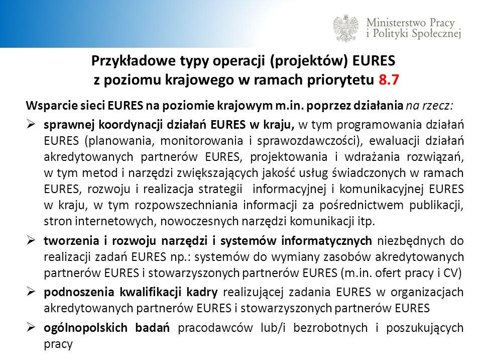 Przykładowe typy operacji (projektów) EURES z poziomu krajowego w ramach priorytetu 8.7 Wsparcie sieci EURES na poziomie krajowym m.in.