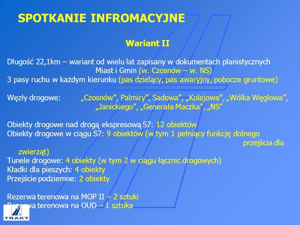 SPOTKANIE INFROMACYJNE Wariant II Długość 22,1km – wariant od wielu lat zapisany w dokumentach planistycznych Miast i Gmin (w. Czosnów – w. NS) 3 pasy