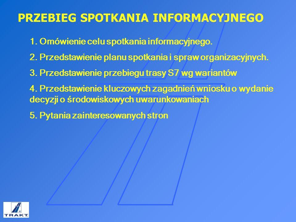 SPOTKANIE INFROMACYJNE Inwestycja swym zakresem dla wariantu IIB obejmuje: Budowę nowego wylotu z Warszawy jako drogi ekspresowej S7 – Wariant I – niebieski (w.
