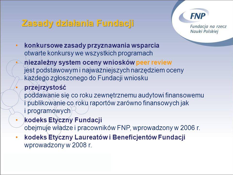 Zasady działania Fundacji konkursowe zasady przyznawania wsparcia otwarte konkursy we wszystkich programach niezależny system oceny wniosków peer revi