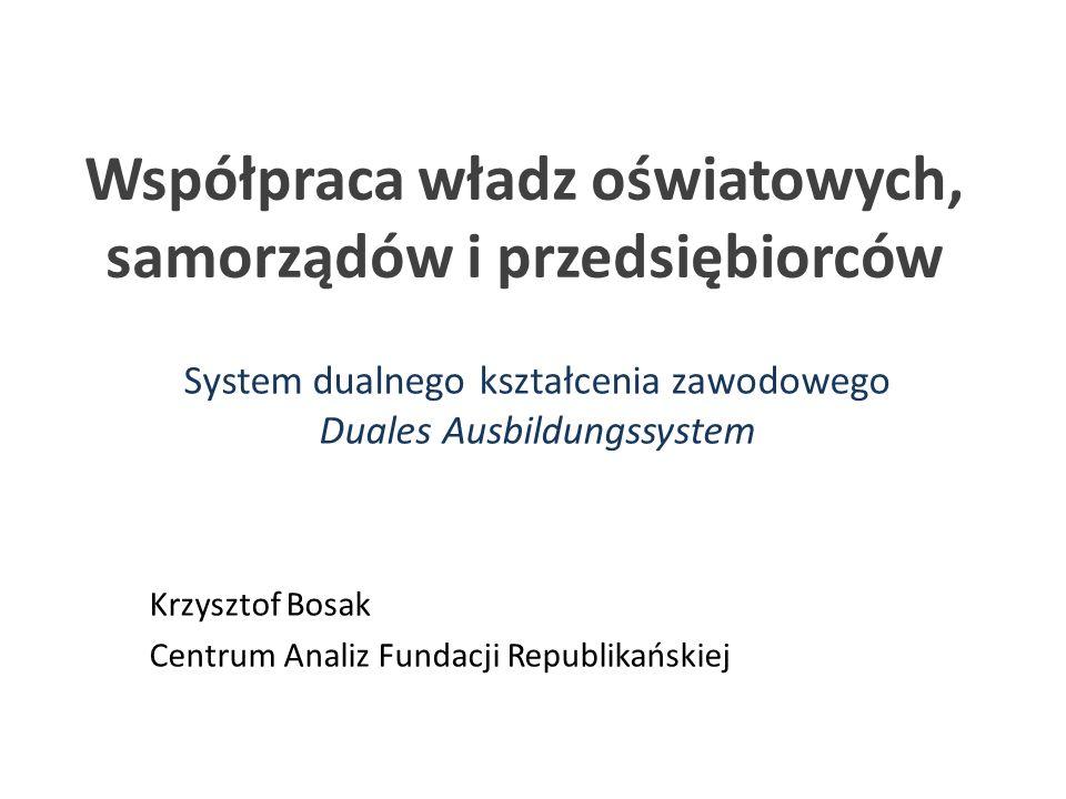 Współpraca władz oświatowych, samorządów i przedsiębiorców System dualnego kształcenia zawodowego Duales Ausbildungssystem Krzysztof Bosak Centrum Ana