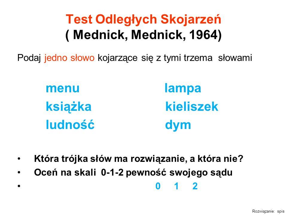 Test Odległych Skojarzeń ( Mednick, Mednick, 1964) Podaj jedno słowo kojarzące się z tymi trzema słowami menu lampa książka kieliszek ludność dym Któr