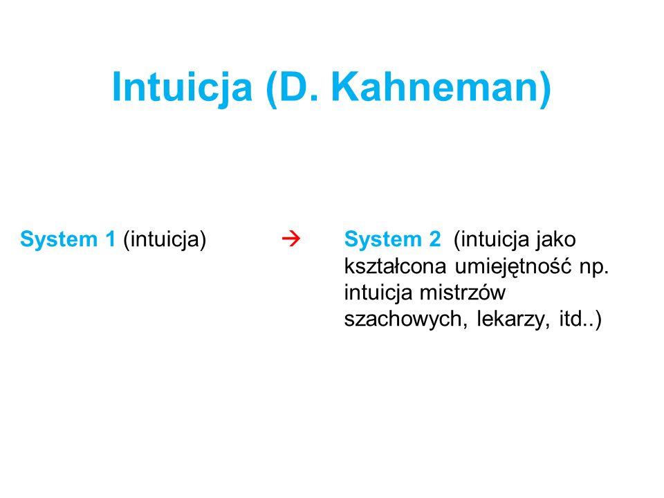 Intuicja (D. Kahneman) System 1 (intuicja) System 2 (intuicja jako kształcona umiejętność np. intuicja mistrzów szachowych, lekarzy, itd..)