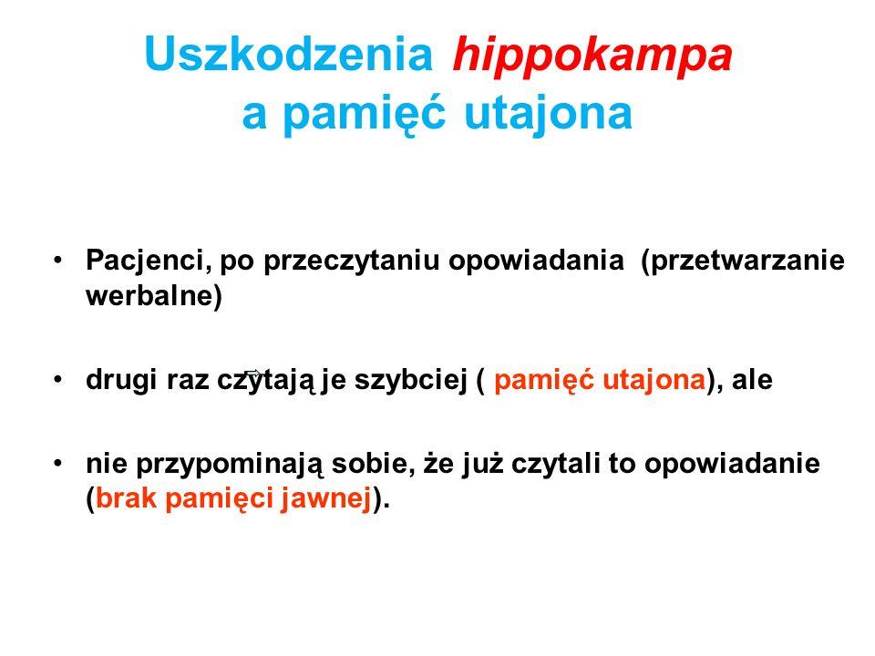 Uszkodzenia hippokampa a pamięć utajona Pacjenci, po przeczytaniu opowiadania (przetwarzanie werbalne) drugi raz czytają je szybciej ( pamięć utajona)