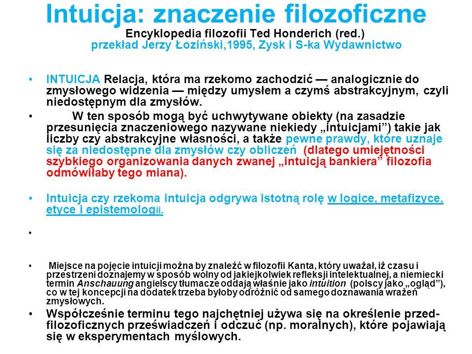 Intuicja: znaczenie filozoficzne Encyklopedia filozofii Ted Honderich (red.) przekład Jerzy Łoziński,1995, Zysk i S-ka Wydawnictwo INTUICJA Relacja, k