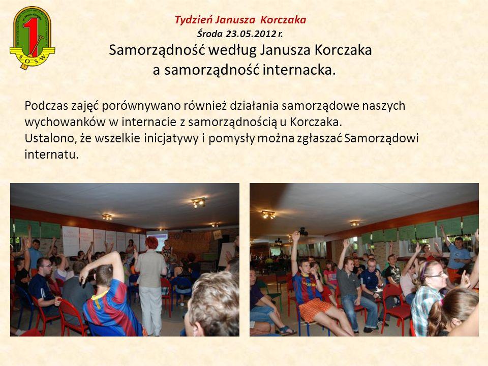 Podczas zajęć porównywano również działania samorządowe naszych wychowanków w internacie z samorządnością u Korczaka. Ustalono, że wszelkie inicjatywy