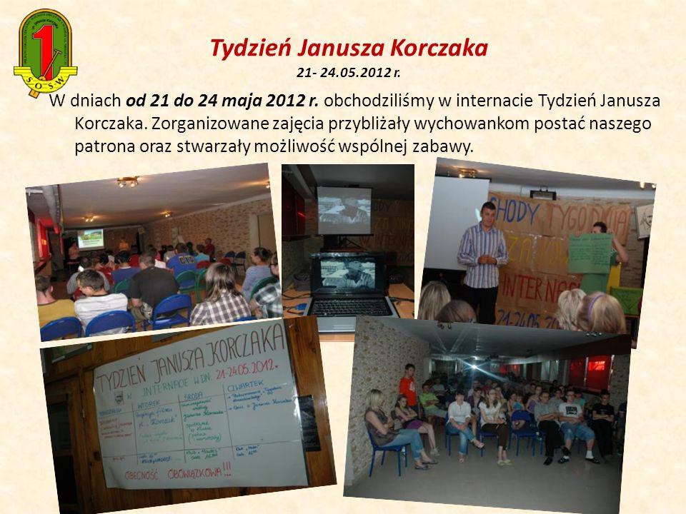 W dniach od 21 do 24 maja 2012 r. obchodziliśmy w internacie Tydzień Janusza Korczaka. Zorganizowane zajęcia przybliżały wychowankom postać naszego pa