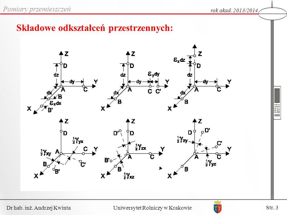 Dr hab. inż. Andrzej Kwinta Str. 3 Uniwersytet Rolniczy w Krakowie Pomiary przemieszczeń rok akad. 2013/2014 Składowe odkształceń przestrzennych: