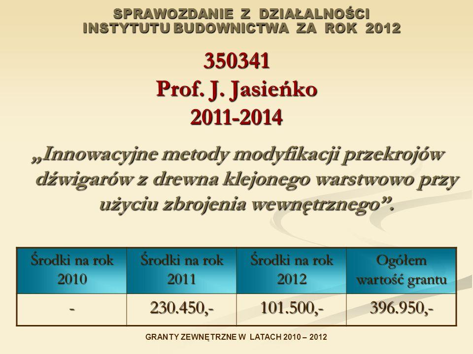 SPRAWOZDANIE Z DZIAŁALNOŚCI INSTYTUTU BUDOWNICTWA ZA ROK 2012 350341 Prof. J. Jasieńko 2011-2014 Innowacyjne metody modyfikacji przekrojów dźwigarów z