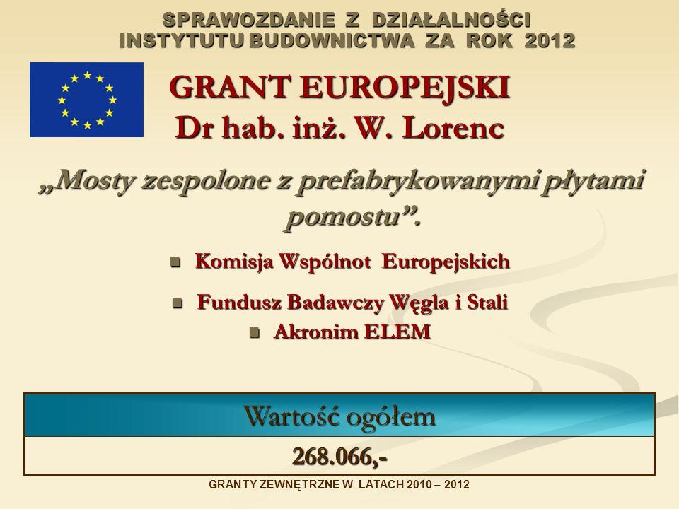 SPRAWOZDANIE Z DZIAŁALNOŚCI INSTYTUTU BUDOWNICTWA ZA ROK 2012 GRANT EUROPEJSKI Dr hab. inż. W. Lorenc Mosty zespolone z prefabrykowanymi płytami pomos