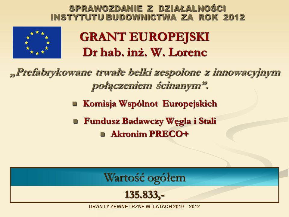 SPRAWOZDANIE Z DZIAŁALNOŚCI INSTYTUTU BUDOWNICTWA ZA ROK 2012 GRANT EUROPEJSKI Dr hab. inż. W. Lorenc Prefabrykowane trwałe belki zespolone z innowacy