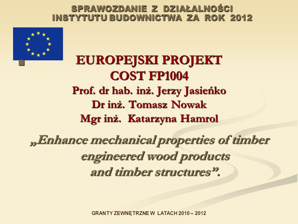 SPRAWOZDANIE Z DZIAŁALNOŚCI INSTYTUTU BUDOWNICTWA ZA ROK 2012 EUROPEJSKI PROJEKT COST FP1004 Prof. dr hab. inż. Jerzy Jasieńko Dr inż. Tomasz Nowak Mg