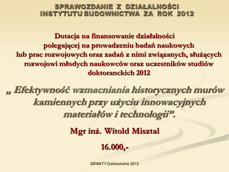 SPRAWOZDANIE Z DZIAŁALNOŚCI INSTYTUTU BUDOWNICTWA ZA ROK 2012 Dotacja na finansowanie działalności polegającej na prowadzeniu badań naukowych lub prac