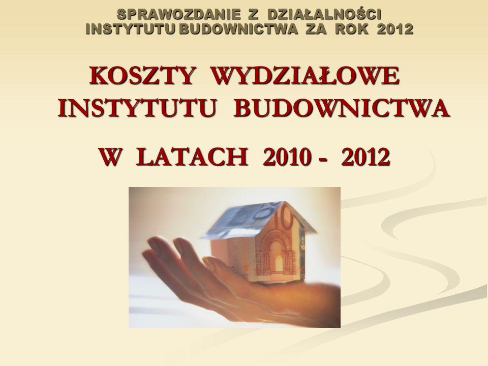 SPRAWOZDANIE Z DZIAŁALNOŚCI INSTYTUTU BUDOWNICTWA ZA ROK 2012 KOSZTY WYDZIAŁOWE INSTYTUTU BUDOWNICTWA W LATACH 2010 - 2012