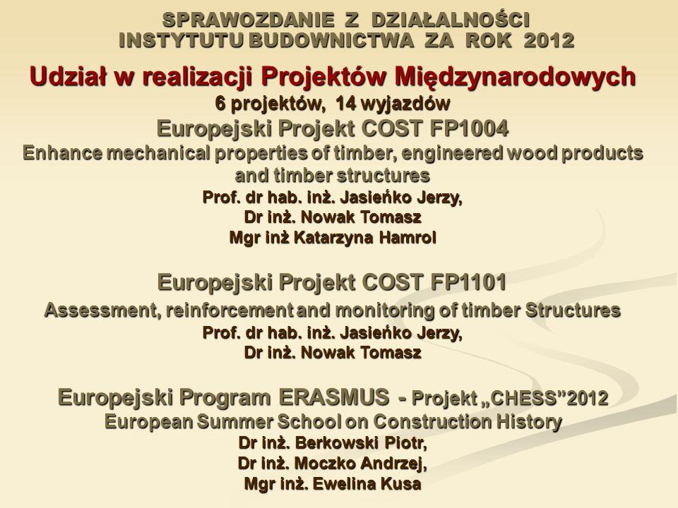 SPRAWOZDANIE Z DZIAŁALNOŚCI INSTYTUTU BUDOWNICTWA ZA ROK 2012 Udział w realizacji Projektów Międzynarodowych 6 projektów, 14 wyjazdów Europejski Proje