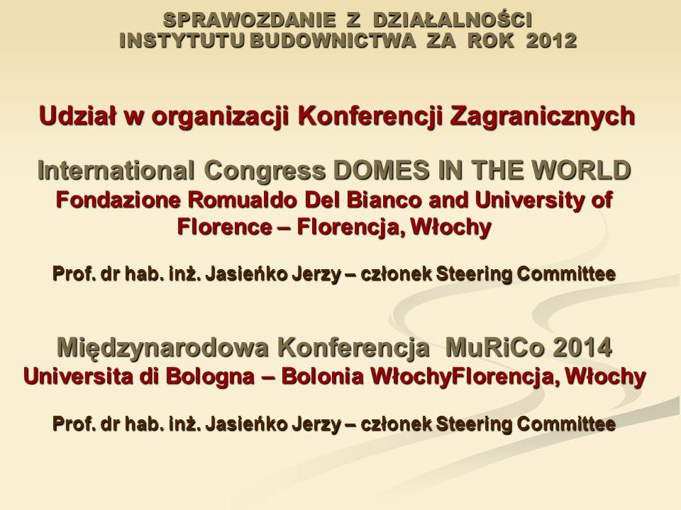 SPRAWOZDANIE Z DZIAŁALNOŚCI INSTYTUTU BUDOWNICTWA ZA ROK 2012 Udział w organizacji Konferencji Zagranicznych Udział w organizacji Konferencji Zagranic
