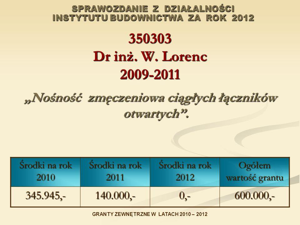 SPRAWOZDANIE Z DZIAŁALNOŚCI INSTYTUTU BUDOWNICTWA ZA ROK 2012 350303 Dr inż. W. Lorenc 2009-2011 Nośność zmęczeniowa ciągłych łączników otwartych. Śro
