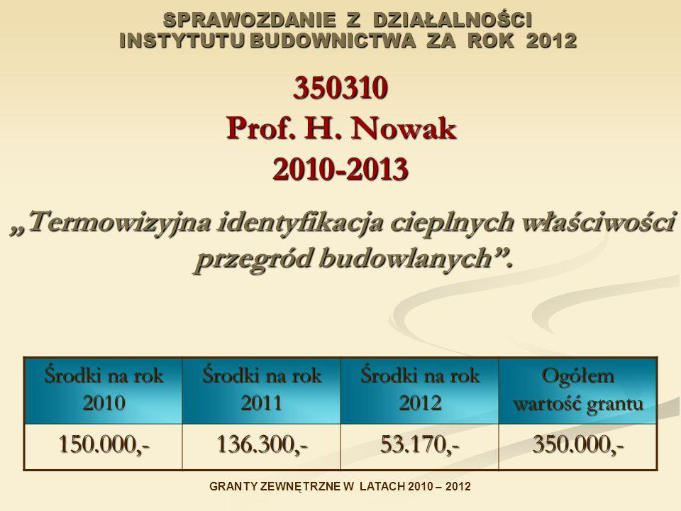 SPRAWOZDANIE Z DZIAŁALNOŚCI INSTYTUTU BUDOWNICTWA ZA ROK 2012 350310 Prof. H. Nowak 2010-2013 Termowizyjna identyfikacja cieplnych właściwości przegró