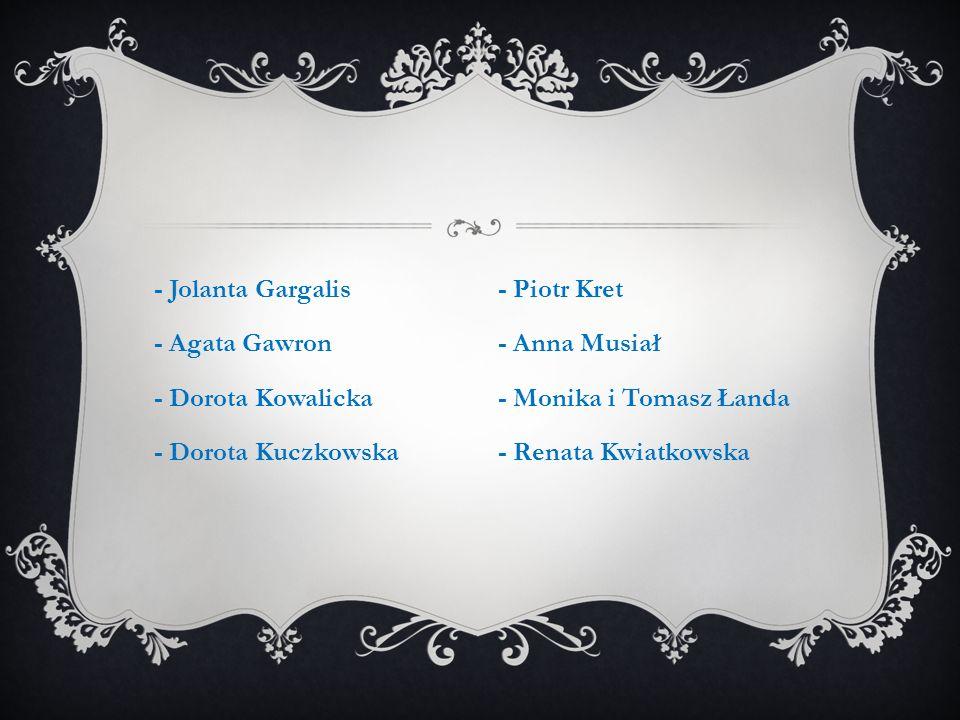 - Jolanta Gargalis - Agata Gawron - Dorota Kowalicka - Dorota Kuczkowska - Piotr Kret - Anna Musiał - Monika i Tomasz Łanda - Renata Kwiatkowska