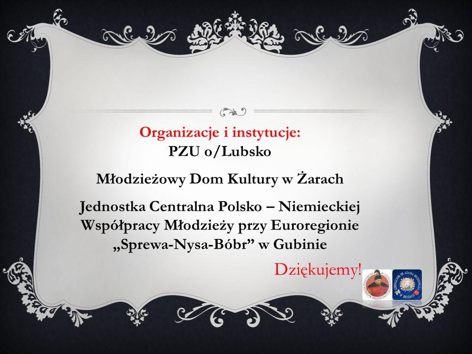 Dziękujemy! Organizacje i instytucje: PZU o/Lubsko Młodzieżowy Dom Kultury w Żarach Jednostka Centralna Polsko – Niemieckiej Współpracy Młodzieży przy