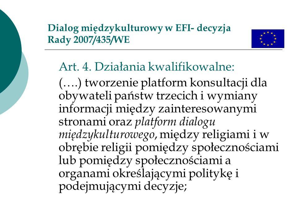 Dialog międzykulturowy w EFI- decyzja Rady 2007/435/WE Art. 4. Działania kwalifikowalne: (….) tworzenie platform konsultacji dla obywateli państw trze