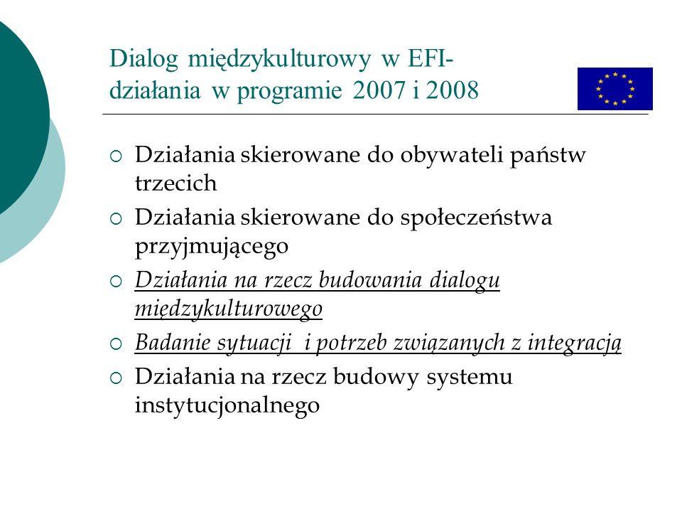 Dialog międzykulturowy w EFI- działania w programie 2007 i 2008 Działania skierowane do obywateli państw trzecich Działania skierowane do społeczeństw