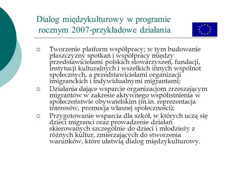 Dialog międzykulturowy w programie rocznym 2007-przykładowe działania Tworzenie platform współpracy; w tym budowanie płaszczyzny spotkań i współpracy między przedstawicielami polskich stowarzyszeń, fundacji, instytucji kulturalnych i wszelkich innych wspólnot społecznych, a przedstawicielami organizacji imigranckich i indywidualnymi migrantami; Działania dające wsparcie organizacjom zrzeszającym migrantów w zakresie aktywnego współistnienia w społeczeństwie obywatelskim (m.in.