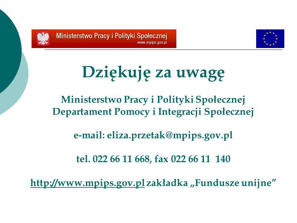 Dziękuję za uwagę Ministerstwo Pracy i Polityki Społecznej Departament Pomocy i Integracji Społecznej e-mail: eliza.przetak@mpips.gov.pl tel. 022 66 1