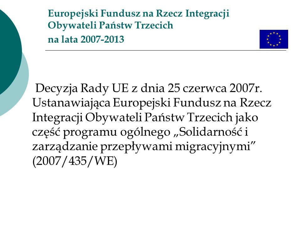 Europejski Fundusz na Rzecz Integracji Obywateli Państw Trzecich na lata 2007-2013 Decyzja Rady UE z dnia 25 czerwca 2007r. Ustanawiająca Europejski F