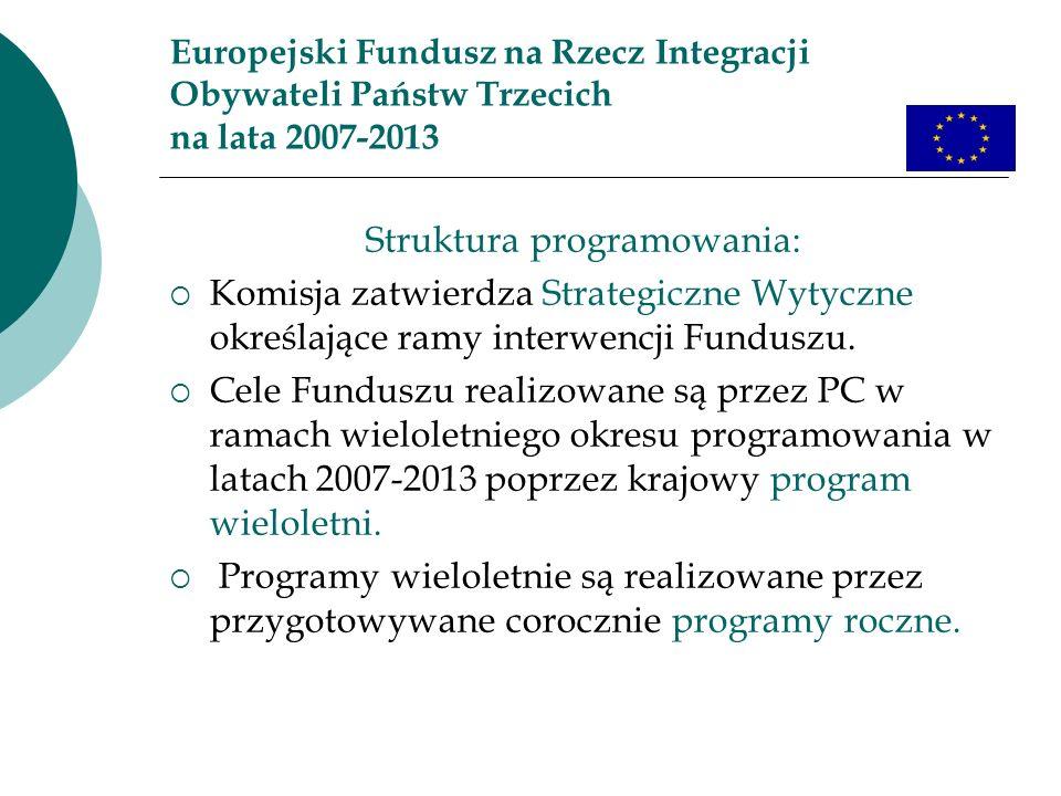 Europejski Fundusz na Rzecz Integracji Obywateli Państw Trzecich na lata 2007-2013 Struktura programowania: Komisja zatwierdza Strategiczne Wytyczne o