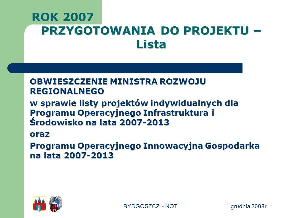 1 grudnia 2008r.BYDGOSZCZ - NOT OBWIESZCZENIE MINISTRA ROZWOJU REGIONALNEGO sprawie listy projektów indywidualnych dla Programu Operacyjnego Infrastru
