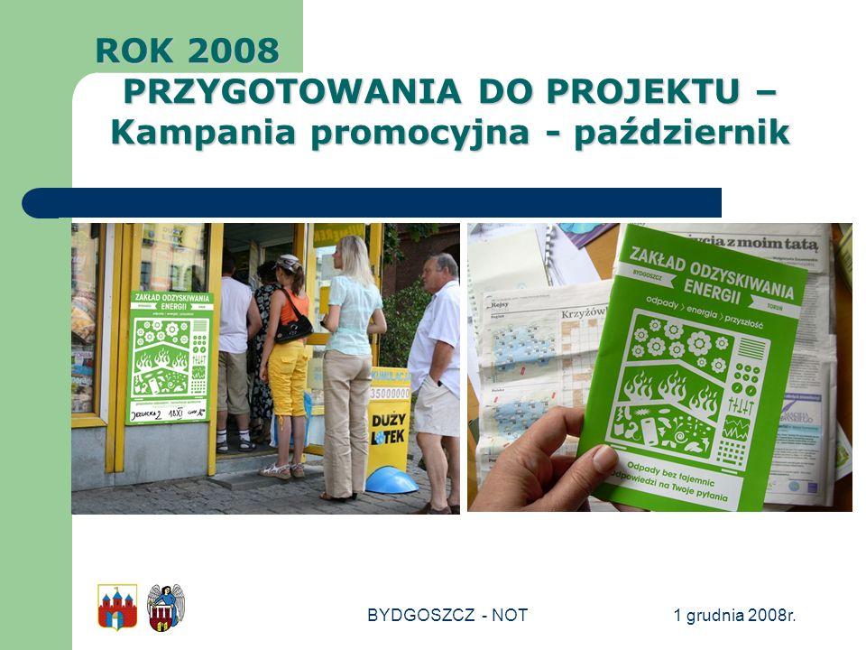 1 grudnia 2008r.BYDGOSZCZ - NOT ROK 2008 PRZYGOTOWANIA DO PROJEKTU – Kampania promocyjna - październik