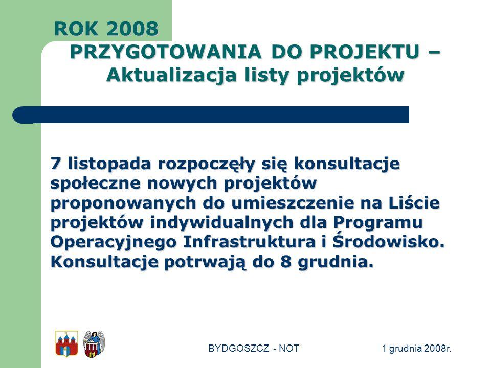 1 grudnia 2008r.BYDGOSZCZ - NOT 7 listopada rozpoczęły się konsultacje społeczne nowych projektów proponowanych do umieszczenie na Liście projektów in