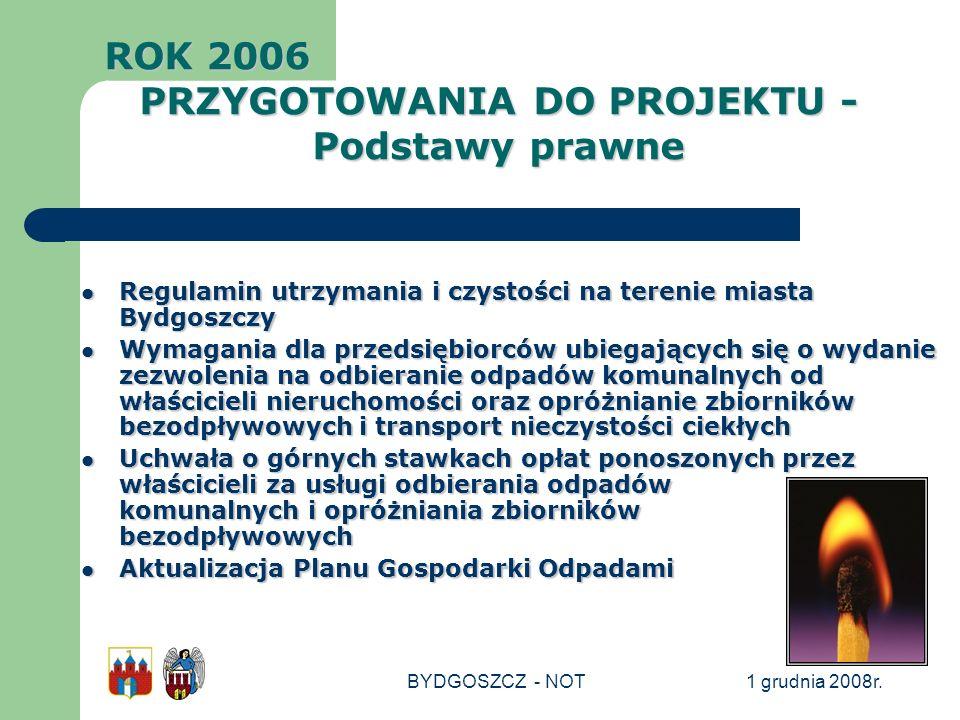 1 grudnia 2008r.BYDGOSZCZ - NOT Regulamin utrzymania i czystości na terenie miasta Bydgoszczy Regulamin utrzymania i czystości na terenie miasta Bydgo