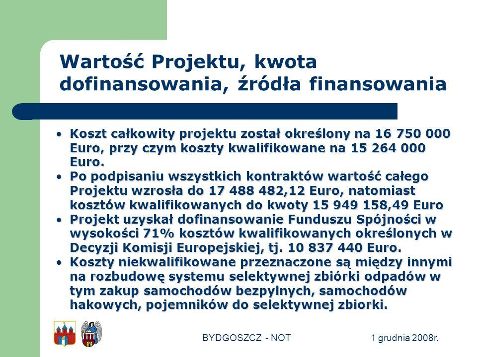 1 grudnia 2008r.BYDGOSZCZ - NOT Koszt całkowity projektu został określony na 16 750 000 Euro, przy czym koszty kwalifikowane na 15 264 000 Euro.Koszt