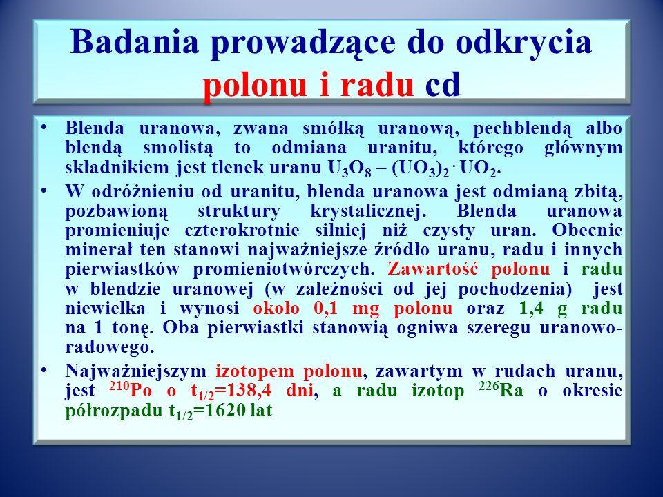 Badania prowadzące do odkrycia polonu i radu Chalkolit Blenda uranowa