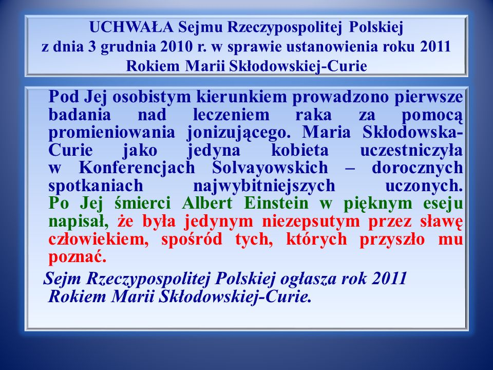 Notka biograficzna Marii Sk ł odowskiej – Curie Nim jednak doszło do ślubu, Maria wróciła do Warszawy, chcąc kontynuować pracę naukową w ojczyźnie.