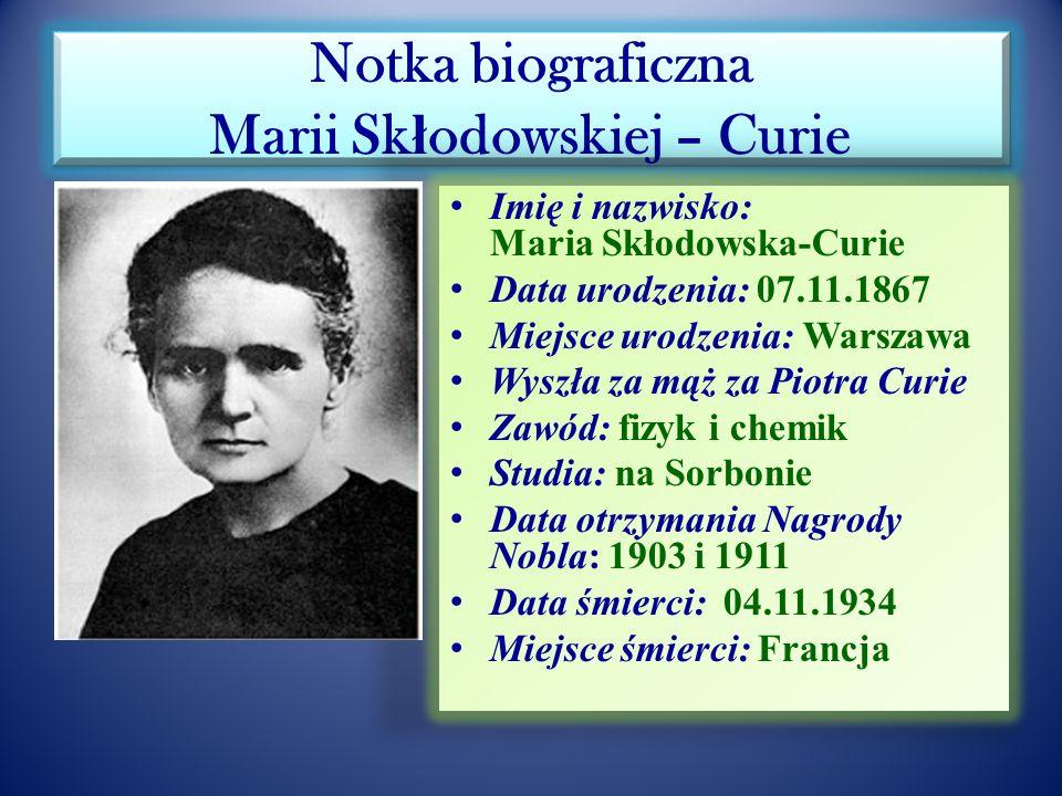 ONZ i WHO oraz UNESCO ustanowiły rok 2011 Rokiem Chemii a patronką światowego roku będzie Maria Skłodowska-Curie (100-lecie drugiej nagrody Nobla) Mar