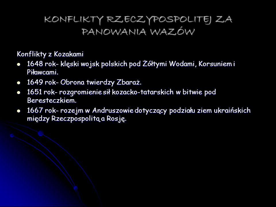 KONFLIKTY RZECZYPOSPOLITEJ ZA PANOWANIA WAZÓW Konflikty z Kozakami 1648 rok- klęski wojsk polskich pod Żółtymi Wodami, Korsuniem i Piławcami. 1648 rok