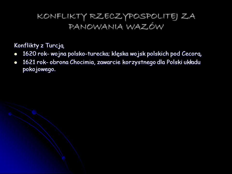 KONFLIKTY RZECZYPOSPOLITEJ ZA PANOWANIA WAZÓW Konflikty z Turcją 1620 rok- wojna polsko-turecka; klęska wojsk polskich pod Cecorą. 1620 rok- wojna pol