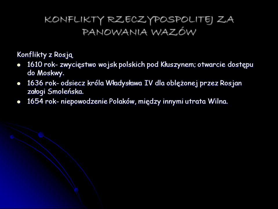 KONFLIKTY RZECZYPOSPOLITEJ ZA PANOWANIA WAZÓW Konflikty z Rosją 1610 rok- zwycięstwo wojsk polskich pod Kłuszynem; otwarcie dostępu do Moskwy. 1610 ro